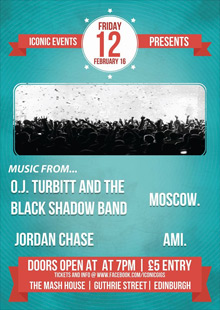 IConic Events presents O.J. Turbot And The Black Shadow Band, Jordan Chase, Moscow. & AMi